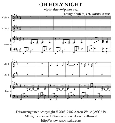 Oh Holy Night violin duet - AaronWaite.com: High quality ...